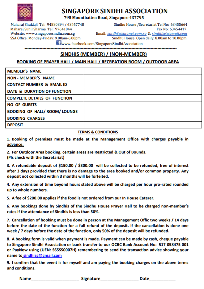 SSA Booking Form
